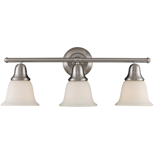 Elk Lighting Bathroom Light with White Glass in Brushed Nickel Finish 67022-3