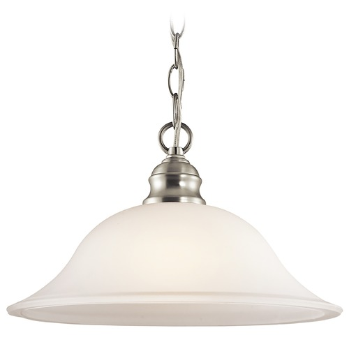 Kichler Lighting Kichler Pendant Light with White Glass in Brushed Nickel Finish 42902NI