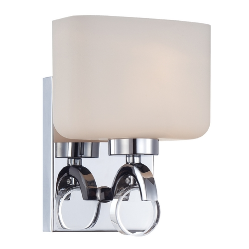 Designers Fountain Lighting Modern Sconce Wall Light with White Glass in Chrome Finish 6621-CH