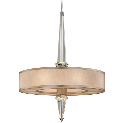 Corbett Lighting Modern Drum Pendant Light with White Shade in Tranquility Silver 166-48