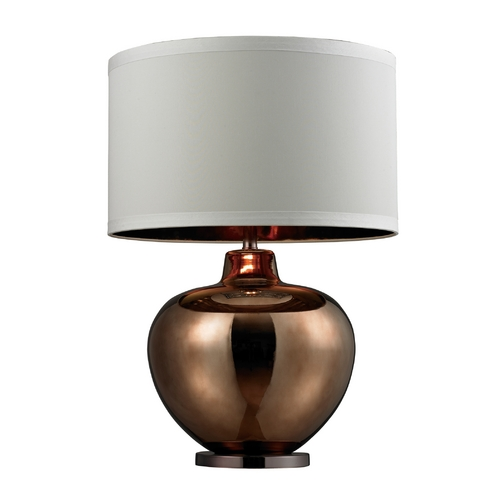Dimond Lighting Table Lamp in Bronze Plated Glass with White Drum Shade D273