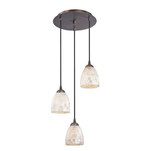 Design Classics Lighting Multi-Light Pendant Light with Mosaic Glass and 3-Lights 583-220 GL1026MB