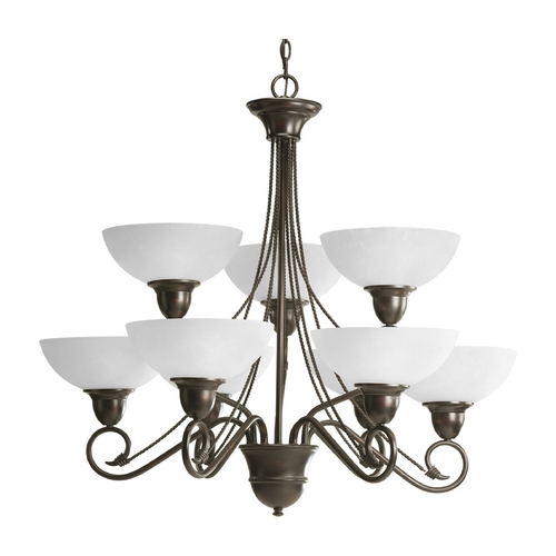 Progress Lighting Progress Chandelier with White Glass in Antique Bronze Finish P4603-20