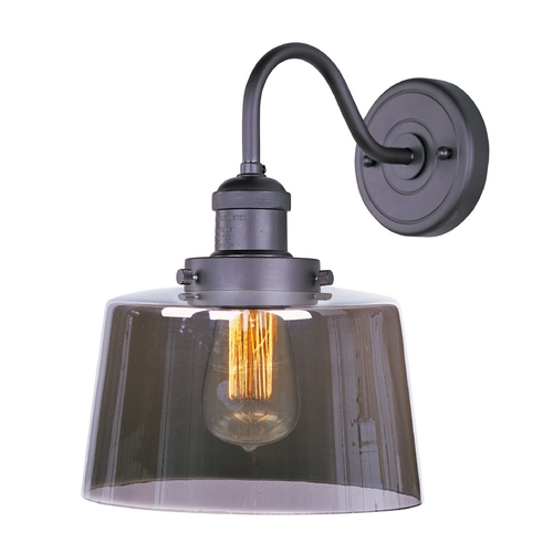 Maxim Lighting Bronze Vintage Wall Sconce with Smoke Glass and Filament Light Bulb 25089MSKBZ/BUI