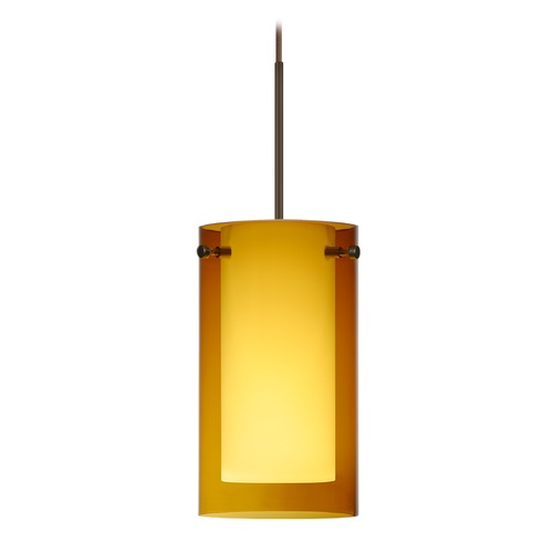 Besa Lighting Besa Lighting Pahu Bronze LED Mini-Pendant Light with Drum Shade 1XT-G44007-LED-BR