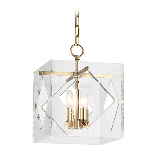 Hudson Valley Lighting Hudson Valley Lighting Travis Aged Brass Pendant Light with Square Shade 5912-AGB