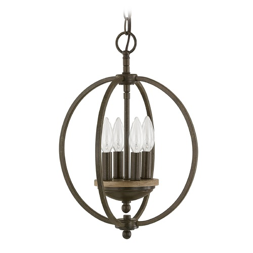 Capital Lighting Capital Lighting Perry Bronze and Oak Pendant Light 4864BA