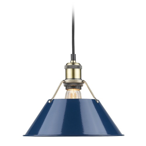 Golden Lighting Golden Lighting Orwell Ab Aged Brass Mini-Pendant Light with Conical Shade 3306-M AB-NVY