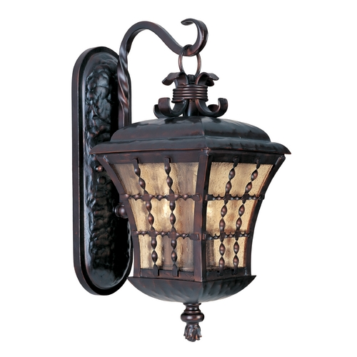 Maxim Lighting Outdoor Wall Light with Amber Glass in Oil Rubbed Bronze Finish 30495ASOI