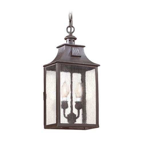 Troy Lighting Outdoor Hanging Light with Clear Glass in Old Bronze Finish FCD9004OBZ