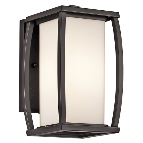 Kichler Lighting Kichler Outdoor Wall Light with White Glass in Bronze Finish 49336AZ