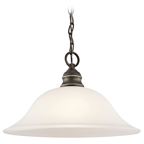 Kichler Lighting Kichler Pendant Light with White Glass in Olde Bronze Finish 42902OZ