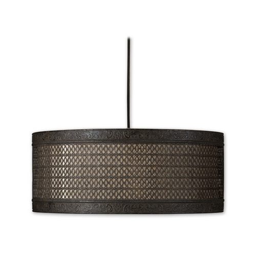 Uttermost Lighting Drum Pendant Lights in Semi-Matte Black Finish 21891