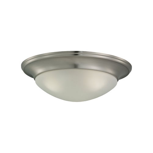 Sea Gull Lighting Flushmount Light with White Glass in Brushed Nickel Finish 79436BLE-962