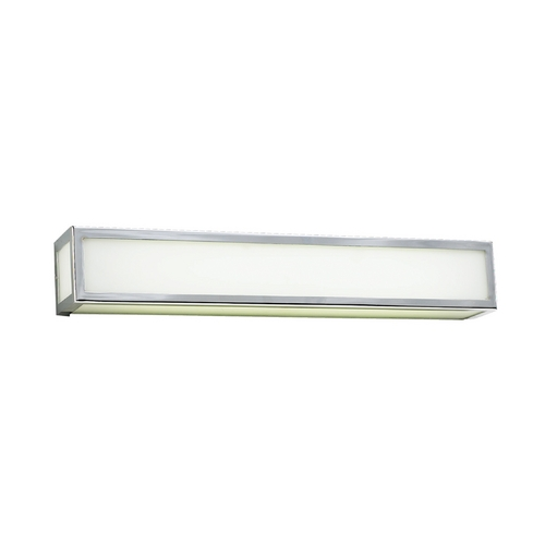 PLC Lighting Modern Bathroom Light with White Glass in Polished Chrome Finish 1032 PC