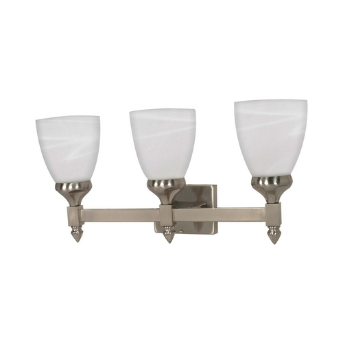 Nuvo Lighting Modern Bathroom Light with Alabaster Glass in Brushed Nickel Finish 60/468