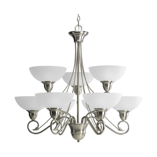 Progress Lighting Progress Chandelier with White Glass in Brushed Nickel Finish P4603-09