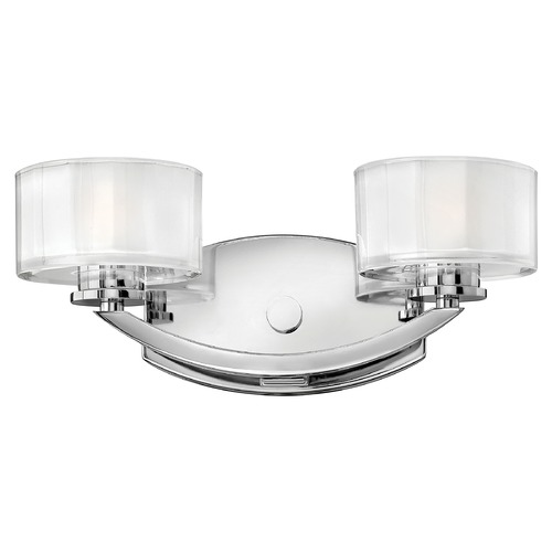 Hinkley Lighting Bathroom Light with White Glass in Chrome Finish 5592CM