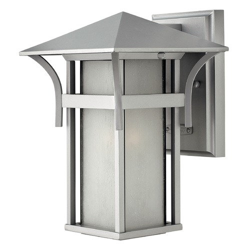 Hinkley Lighting Etched Seeded Glass Outdoor Wall Light Titanium Hinkley Lighting 2570TT