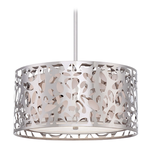 George Kovacs Lighting Modern Drum Pendant Light with White Cage Shades in Chrome Finish P7985-077