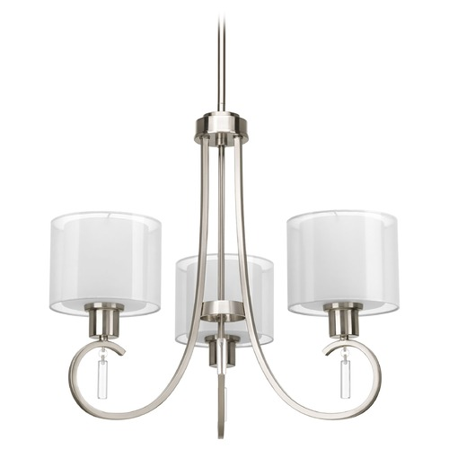 Progress Lighting Chandelier with White Glass in Brushed Nickel Finish P4695-09