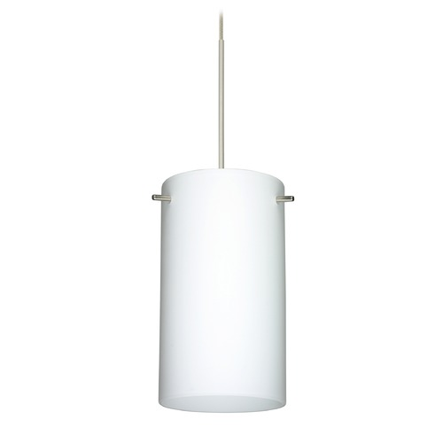 Besa Lighting Besa Lighting Stilo 7 Satin Nickel LED Mini-Pendant Light with Cylindrical Shade 1XT-440407-LED-SN