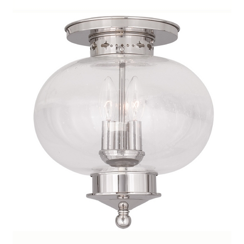 Livex Lighting Livex Lighting Harbor Polished Nickel Close To Ceiling Light 5037-35