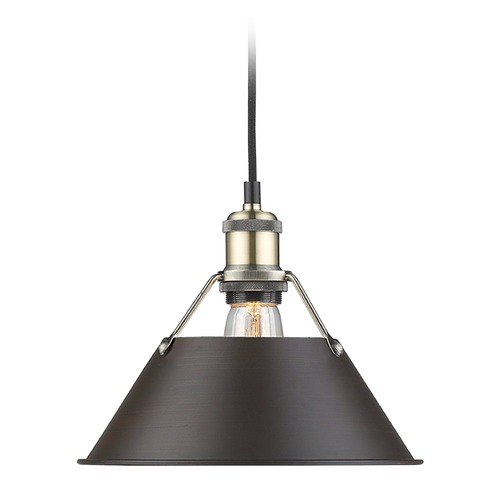 Golden Lighting Golden Lighting Orwell Ab Aged Brass Mini-Pendant Light with Conical Shade 3306-M AB-RBZ
