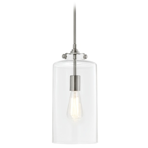 Matteo Lighting Matteo Lighting Menton Brushed Nickel Pendant Light with Cylindrical Shade C56404BN
