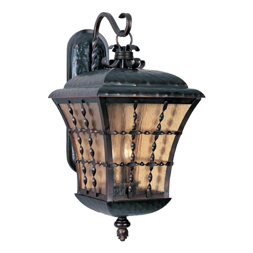 Maxim Lighting Outdoor Wall Light with Amber Glass in Oil Rubbed Bronze Finish 30496ASOI