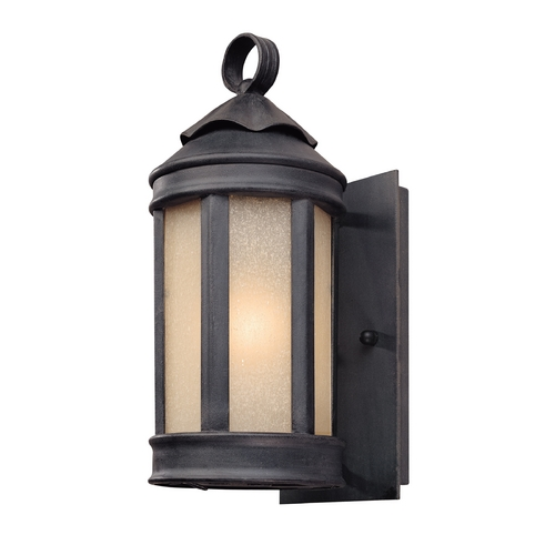 Troy Lighting Outdoor Wall Light with White Glass in Aged Iron Finish B1460AI