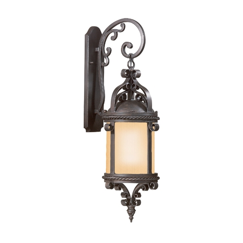 Troy Lighting Outdoor Wall Light with Amber Glass in Old Bronze Finish BF9122OBZ-D