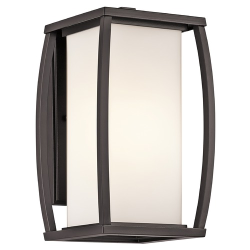 Kichler Lighting Kichler Outdoor Wall Light with White Glass in Bronze Finish 49337AZ