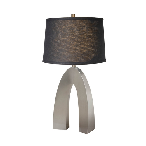 Lite Source Lighting Lite Source Lighting Forster Polished Steel Table Lamp with Drum Shade LS-21931PS/BLK