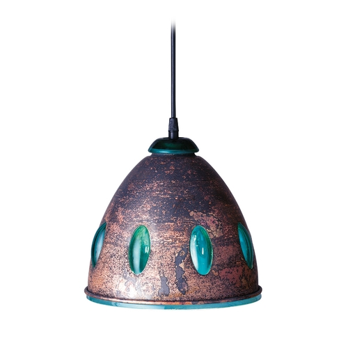 PLC Lighting Modern Mini-Pendant Light with Green Glass 870GRN/COPPER