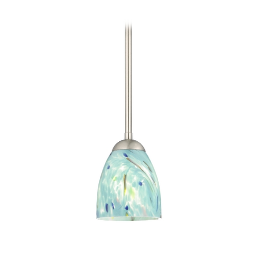 Design Classics Lighting Modern Mini-Pendant Light with Turquoise Art Glass 581-09 GL1021MB
