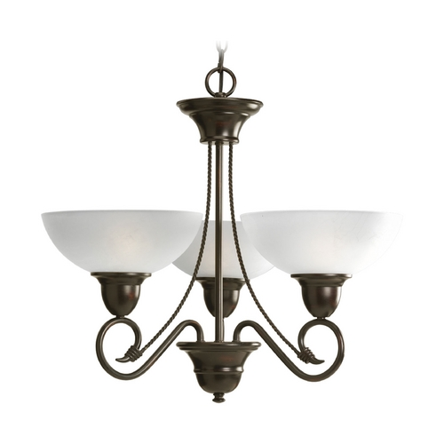 Progress Lighting Progress Chandelier with White Glass in Antique Bronze Finish P4580-20
