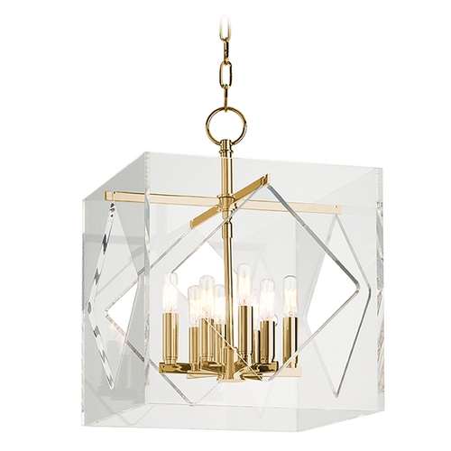 Hudson Valley Lighting Hudson Valley Lighting Travis Aged Brass Pendant Light with Square Shade 5916-AGB