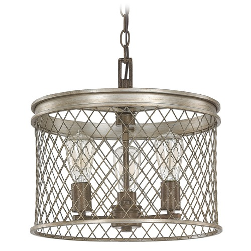 Capital Lighting Capital Lighting Eastman Silver and Bronze Pendant Light with Drum Shade 4883SZ