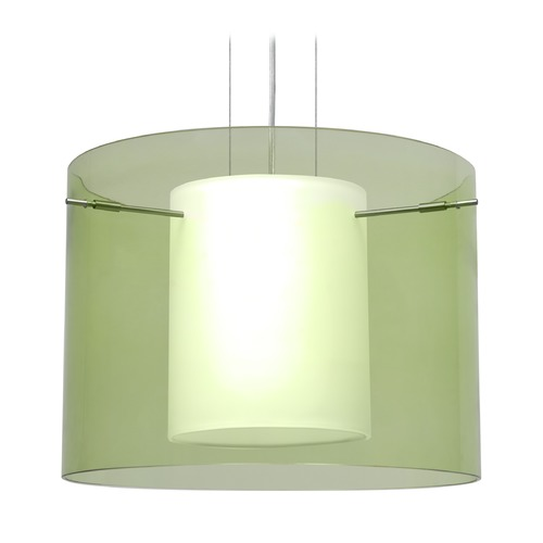 Besa Lighting Besa Lighting Pahu Satin Nickel LED Pendant Light with Drum Shade 1KG-L00707-LED-SN