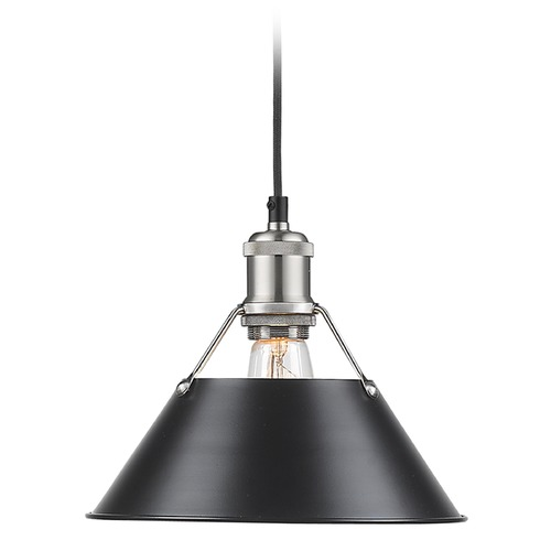 Golden Lighting Golden Lighting Orwell Pw Pewter Mini-Pendant Light with Conical Shade 3306-M PW-BLK