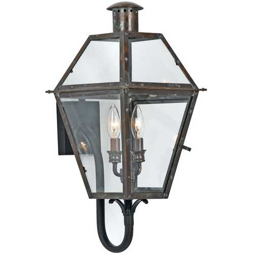 Quoizel Lighting Outdoor Wall Light with Clear Glass in Aged Copper Finish RO8311AC