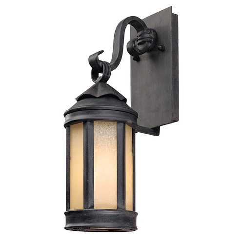 Troy Lighting Outdoor Wall Light with White Glass in Aged Iron Finish B1461AI