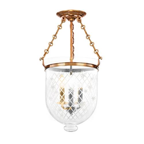 Hudson Valley Lighting Semi-Flushmount Light with Clear Glass in Aged Brass Finish 253-AGB-C3