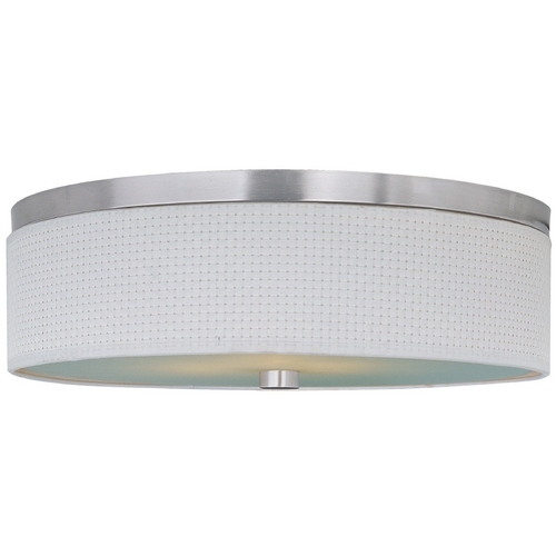 ET2 Lighting Modern Flushmount Light with White Shades in Satin Nickel Finish E95104-100SN