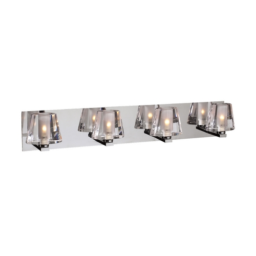 PLC Lighting Modern Bathroom Light with Clear Glass in Polished Chrome Finish 1024 PC