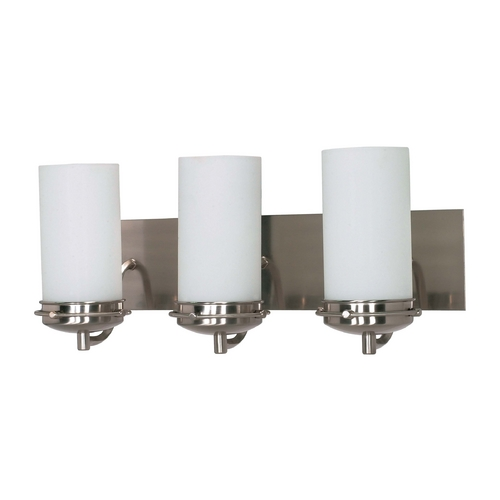 Nuvo Lighting Modern Bathroom Light with White Glass in Brushed Nickel Finish 60/496
