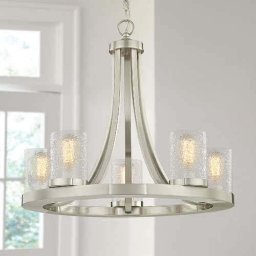 Design Classics Lighting Industrial Chandelier Satin Nickel with Ice Glass 5-Light 162-09 GL1060C