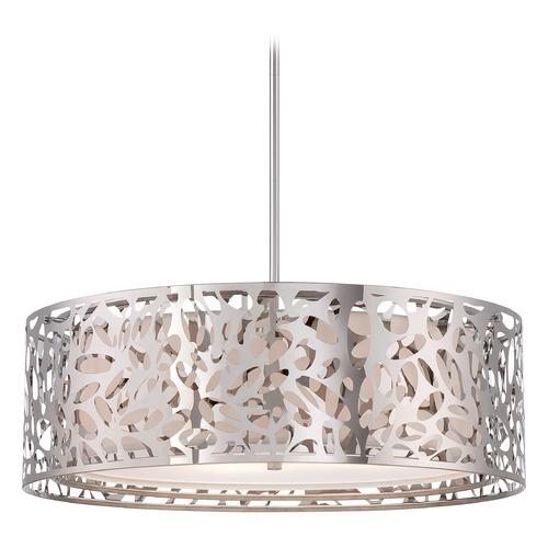 George Kovacs Lighting Modern Drum Pendant Light with White Cage Shades in Chrome Finish P7986-077