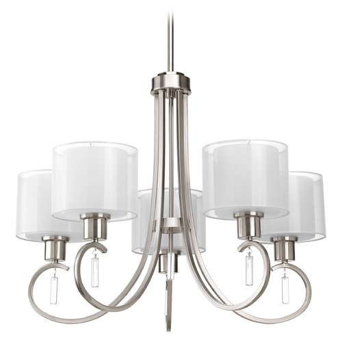 Progress Lighting Chandelier with White Glass in Brushed Nickel Finish P4696-09